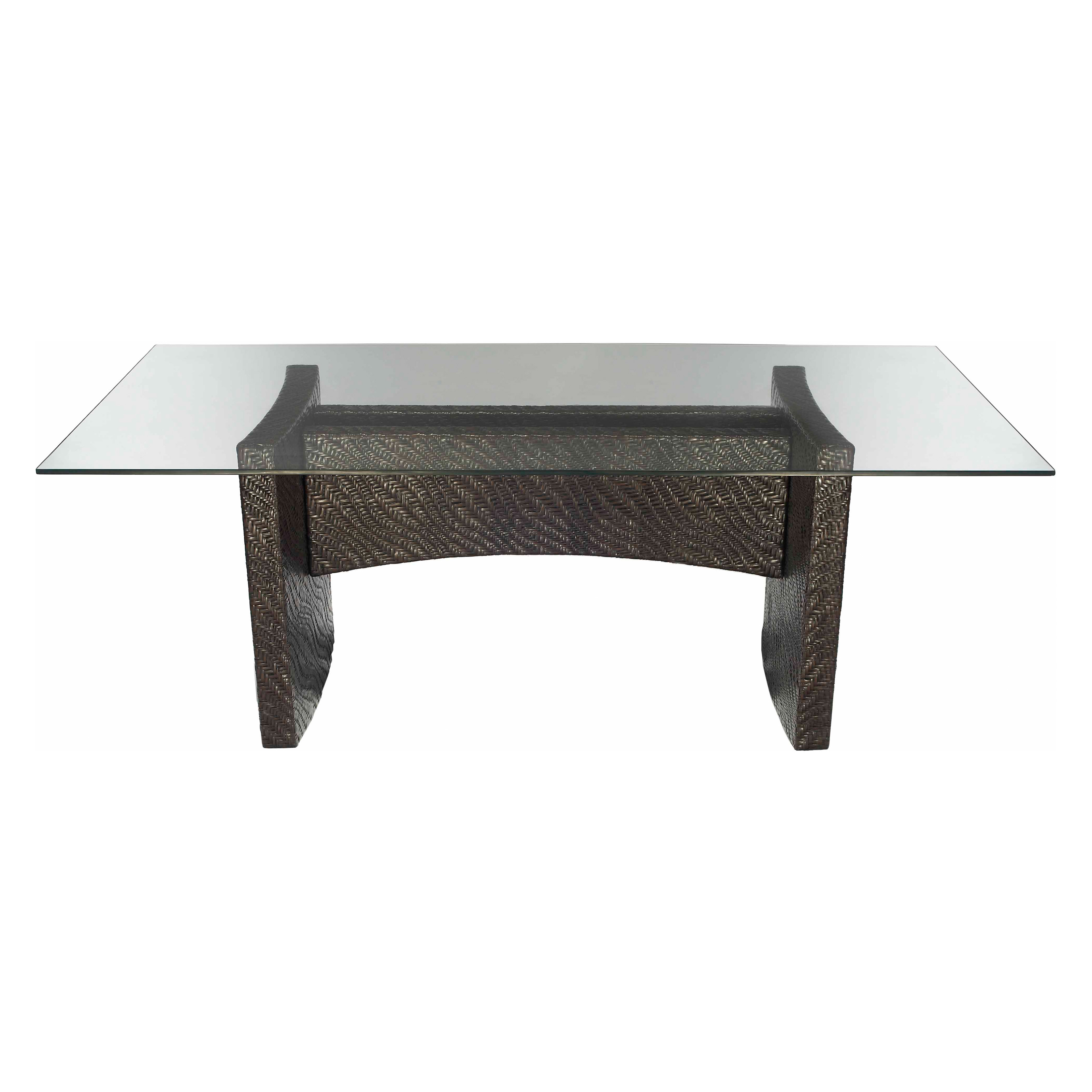 Riva Rectangular Dining Table With Glass Top Pepper At Hayneedle