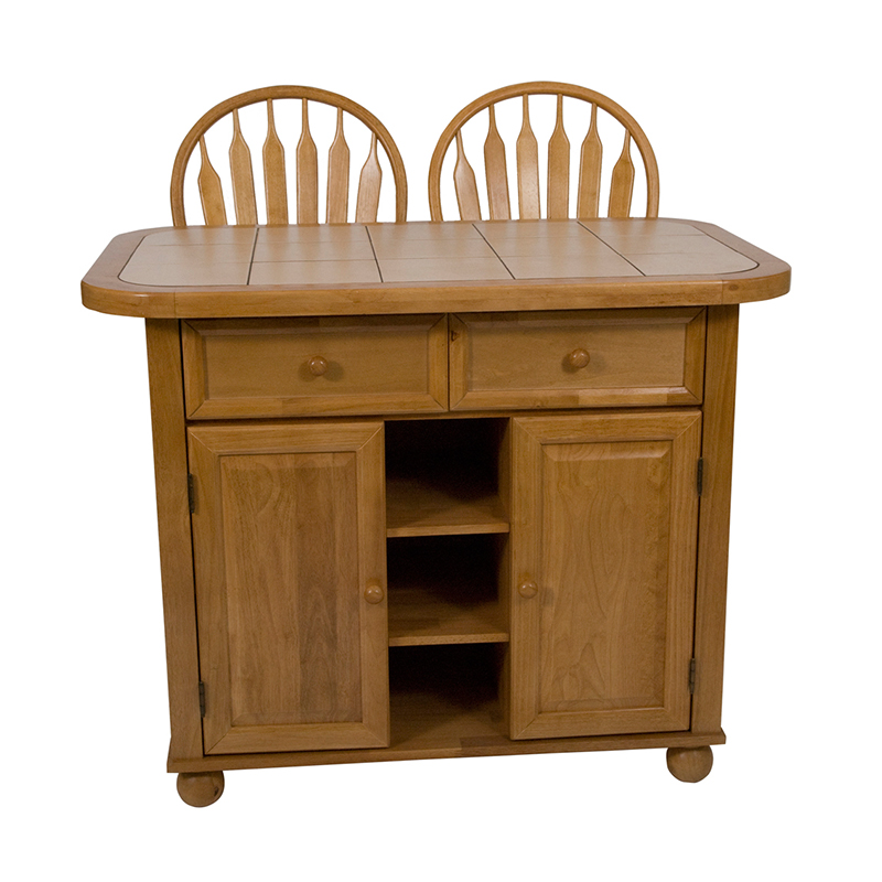Sunset Trading Tile Top Kitchen Island Set With 2 Stools Honey Light Oak Kitchen Islands And