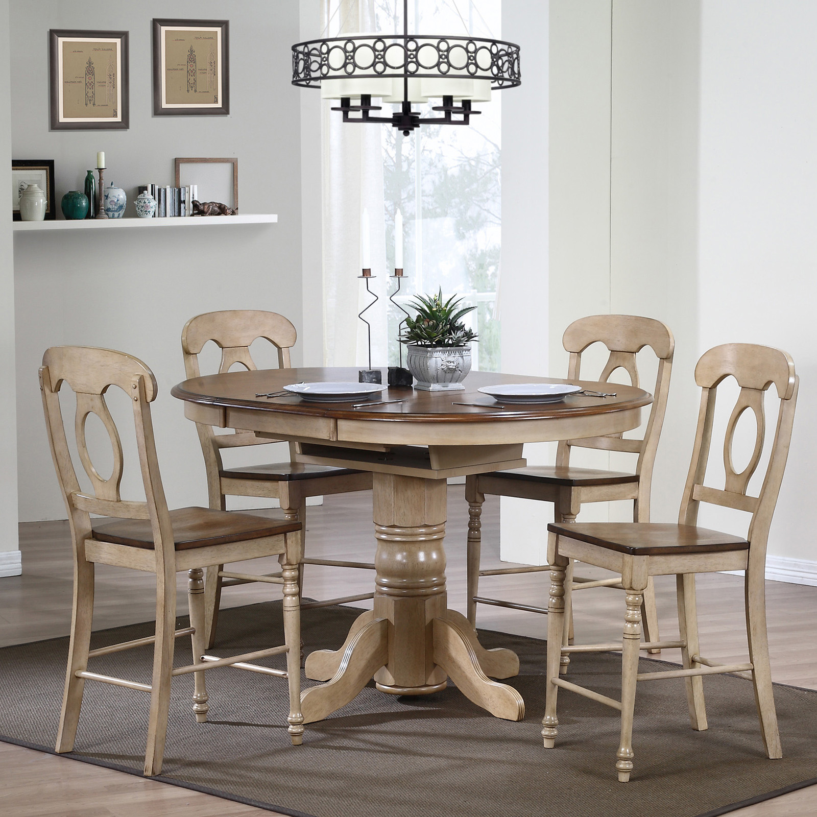 Sunset Trading Brookdale 5 Piece Oval Counter Height Table