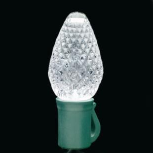 Seasons 4 Commercial 25 ct. C-7 Faceted Cool White LED with Green Wire and 8 in. Spacing-Case of 24