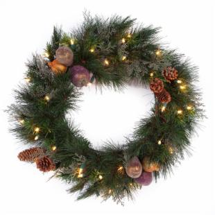 24 in. Abington Pre-Lit Christmas Wreath
