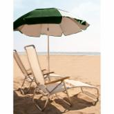 Frankford Umbrella 6 ft. Tilting Solar Reflective Beach Umbrella with White Aluminum Pole