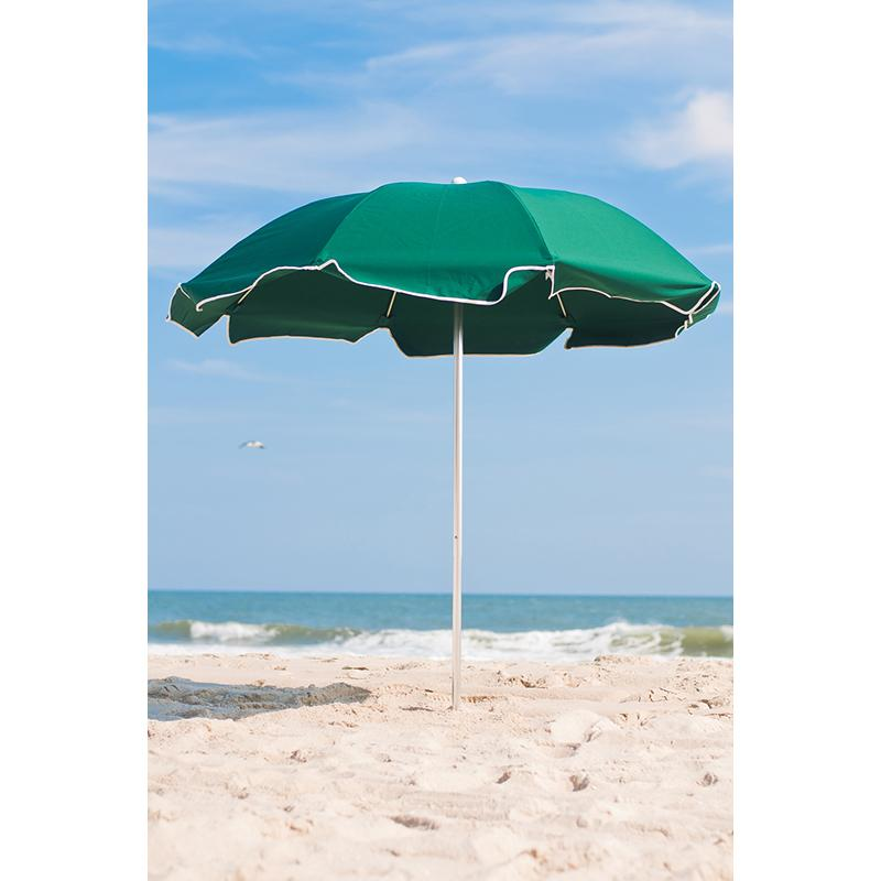 Frankford Umbrella 7.5 ft. Marine Grade Fabric Aluminum Beach Umbrella with Optional Tilt Vent and Valance Teal & White Stripe