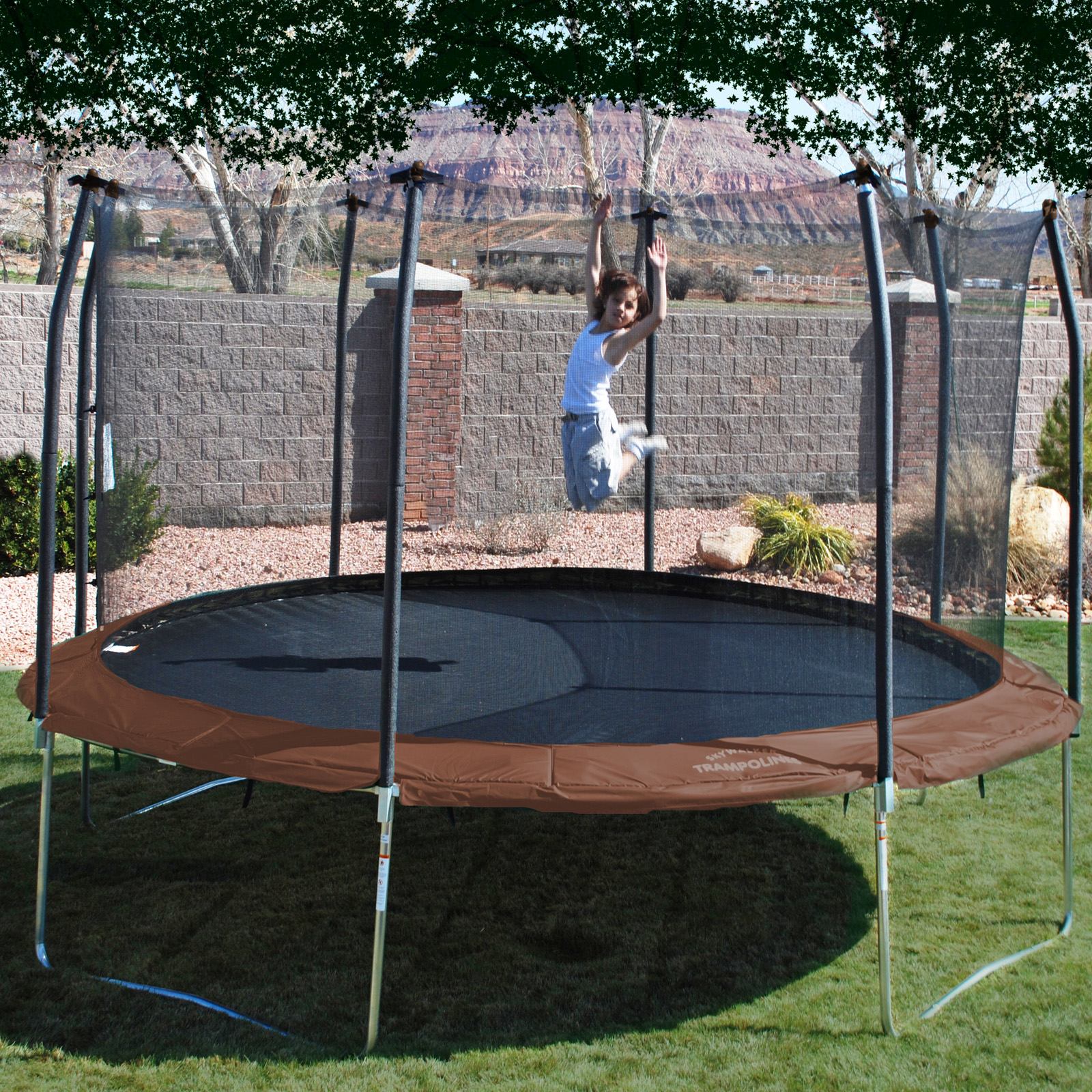 Skywalker 14 Foot Square Trampoline And Enclosure With: Skywalker 14 Ft. Round Trampoline And Enclosure Combo At
