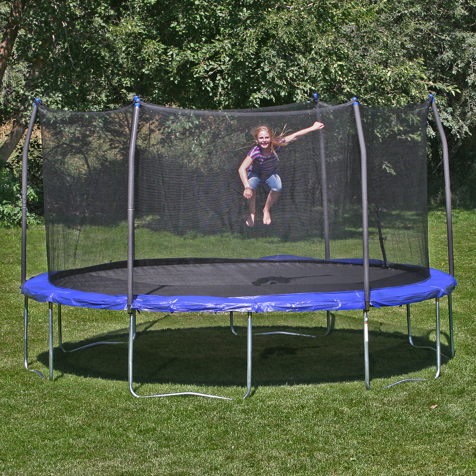 Skywalker 14 Foot Square Trampoline And Enclosure With: Skywalker Trampoline 14 Ft. Round Trampoline & Enclosure
