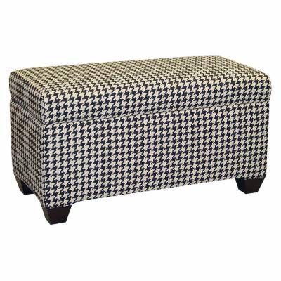 Skyline Houndstooth Upholstered Storage Bench
