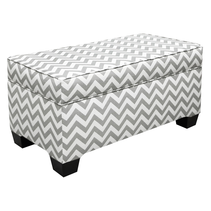 Skyline zig zag grey and white upholstered storage bench bedroom benches at hayneedle White upholstered bench
