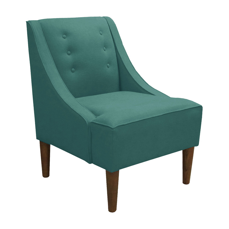 Swoop Arm Chair Teal Linen Accent Chairs At Hayneedle