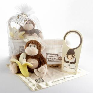 Five Little Monkeys Keepsake Baby Gift Basket with Optional Personalization