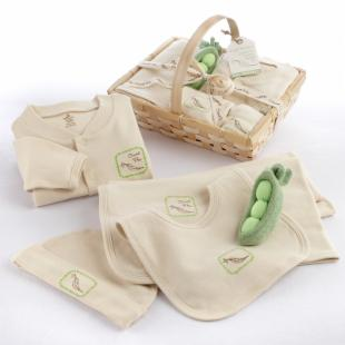 Fresh Produce Sweet Pea Five Piece Organic Layette Gift Set with Optional Personalization