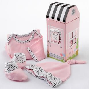 Welcome Home Baby! 3 Piece Pink Layette Set with Optional Personalization