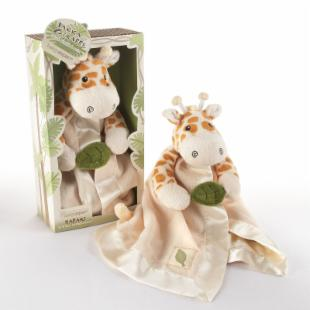 Jakka the Giraffe Little Expeditions Plush Rattle Lovie with Crinkle Leaf