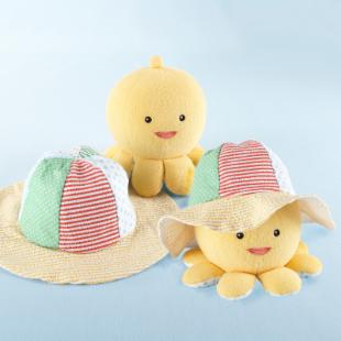 Little Wader and Sun Shader Baby Sunhat and Plush Octopus Gift Set
