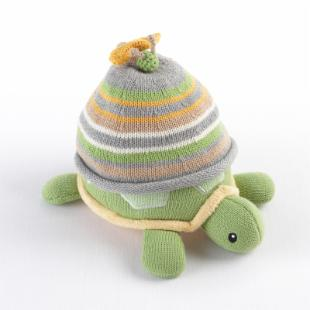 Turtle Toppers Baby Hat and Turtle Plush Gift Set - Yellow