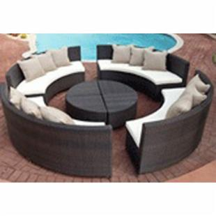 Source Outdoor All Weather Wicker Circa Sectional Set - Seats 8