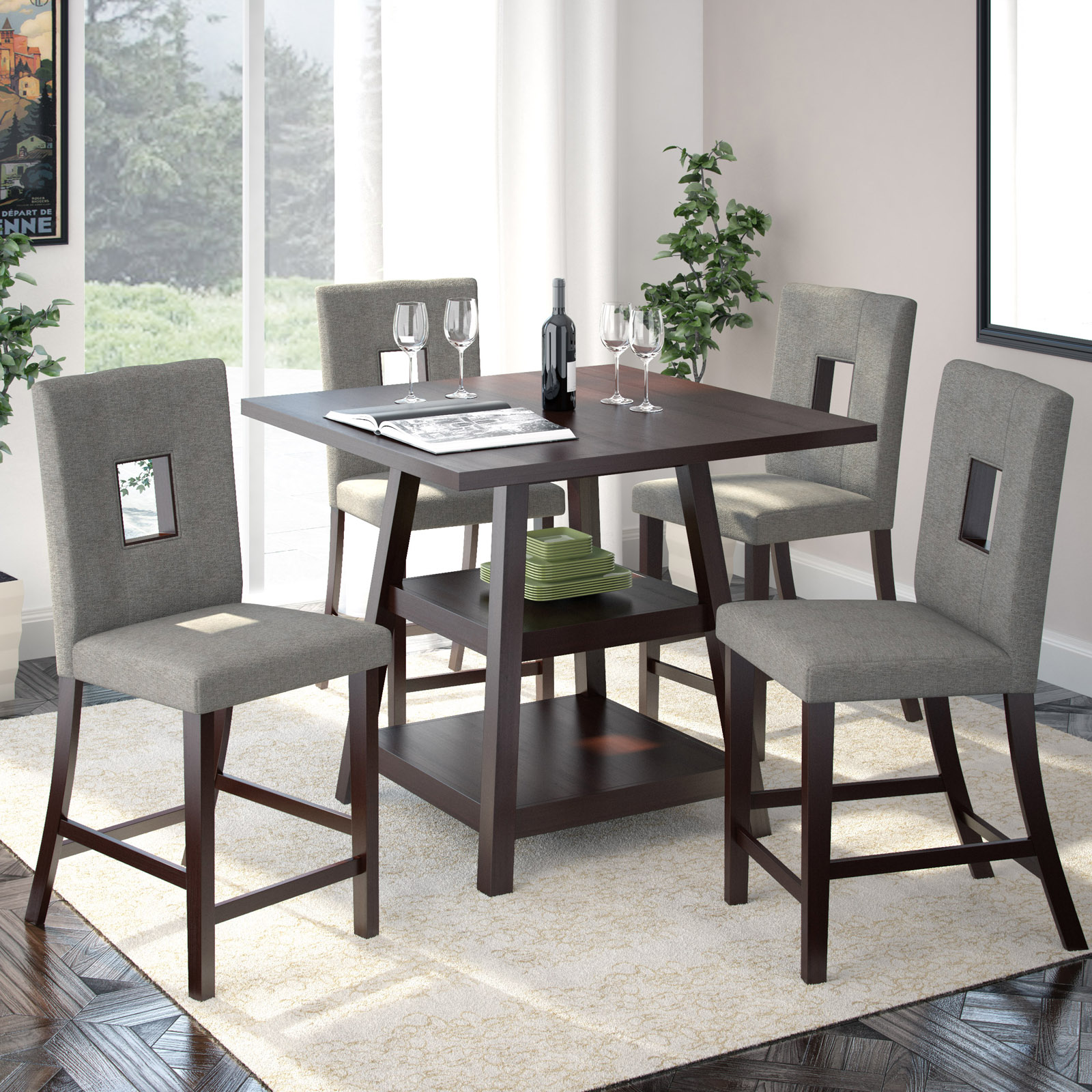 Corliving bistro 5 piece counter height dining set rich for Counter height dining set