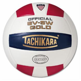 Tachikara SV-5W Leather Volleyball - Red / White / Blue