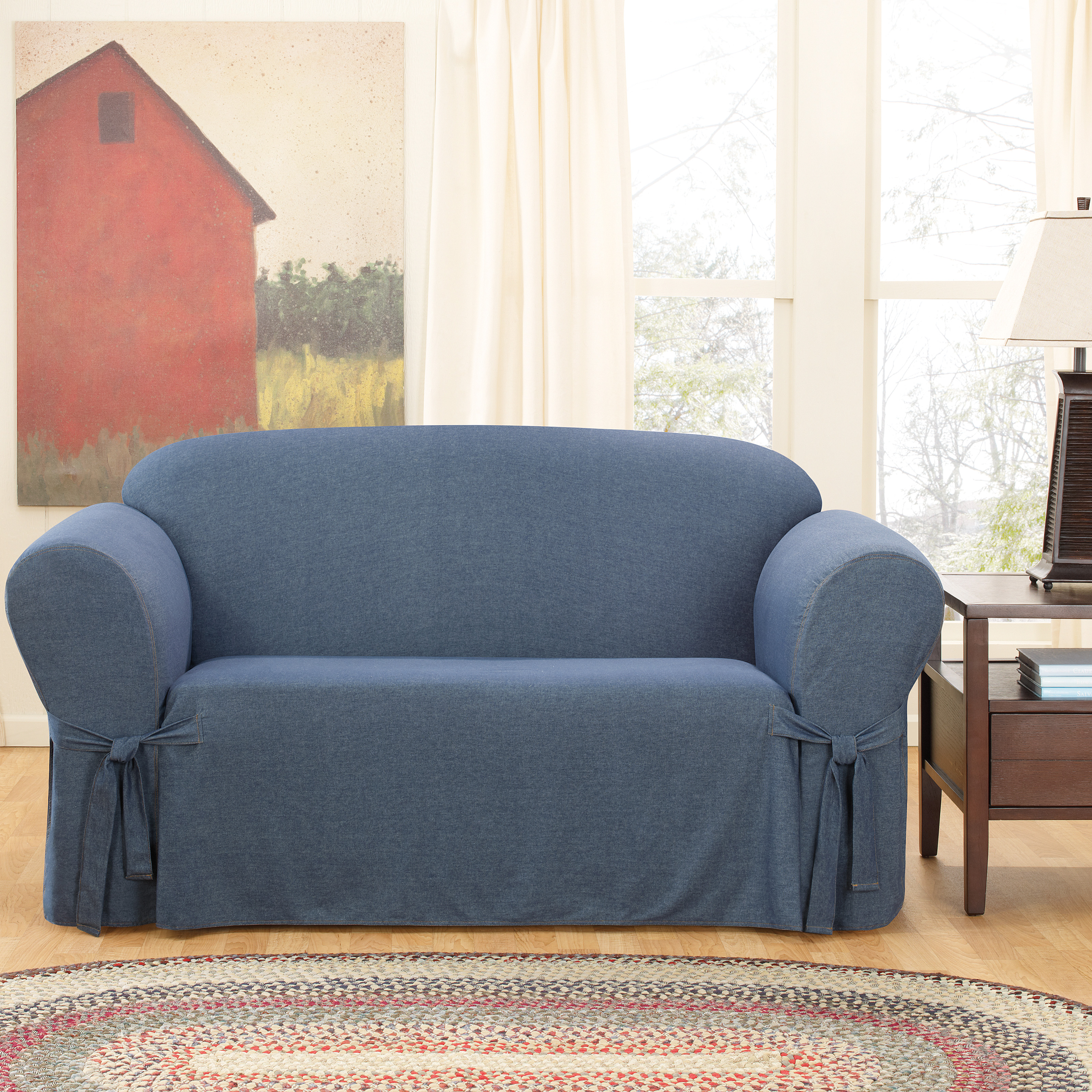 Sure fit denim loveseat cover at hayneedle Denim loveseat