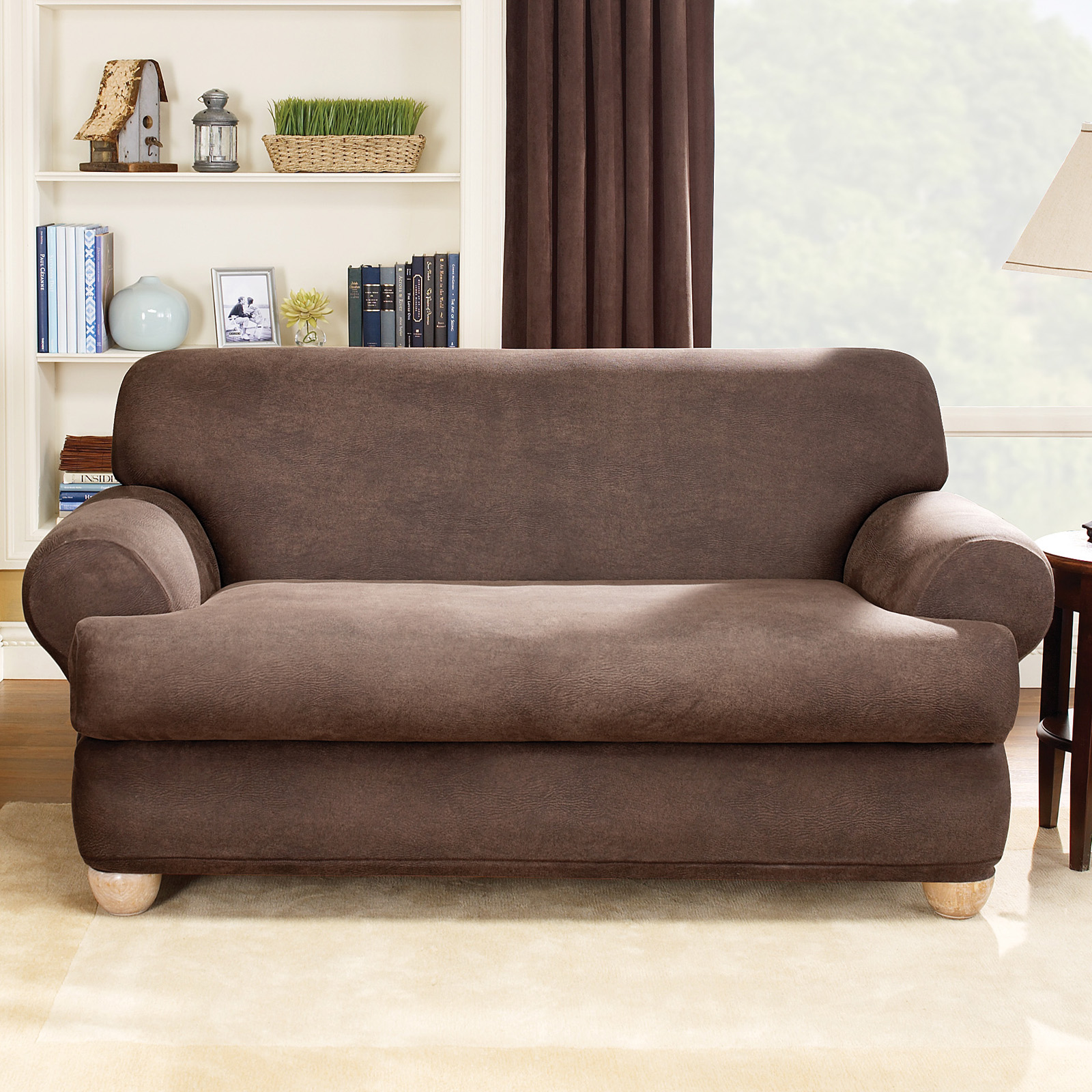 Sure fit stretch leather t cushion two piece sofa for Sofa slipcovers for leather furniture