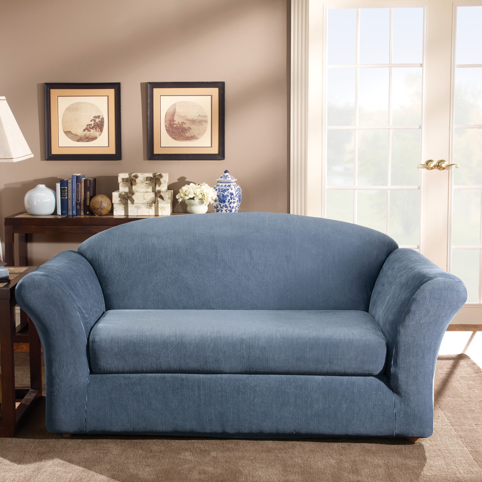 Sure Fit Stretch Stripe Two Piece Sofa Slipcover Sofa