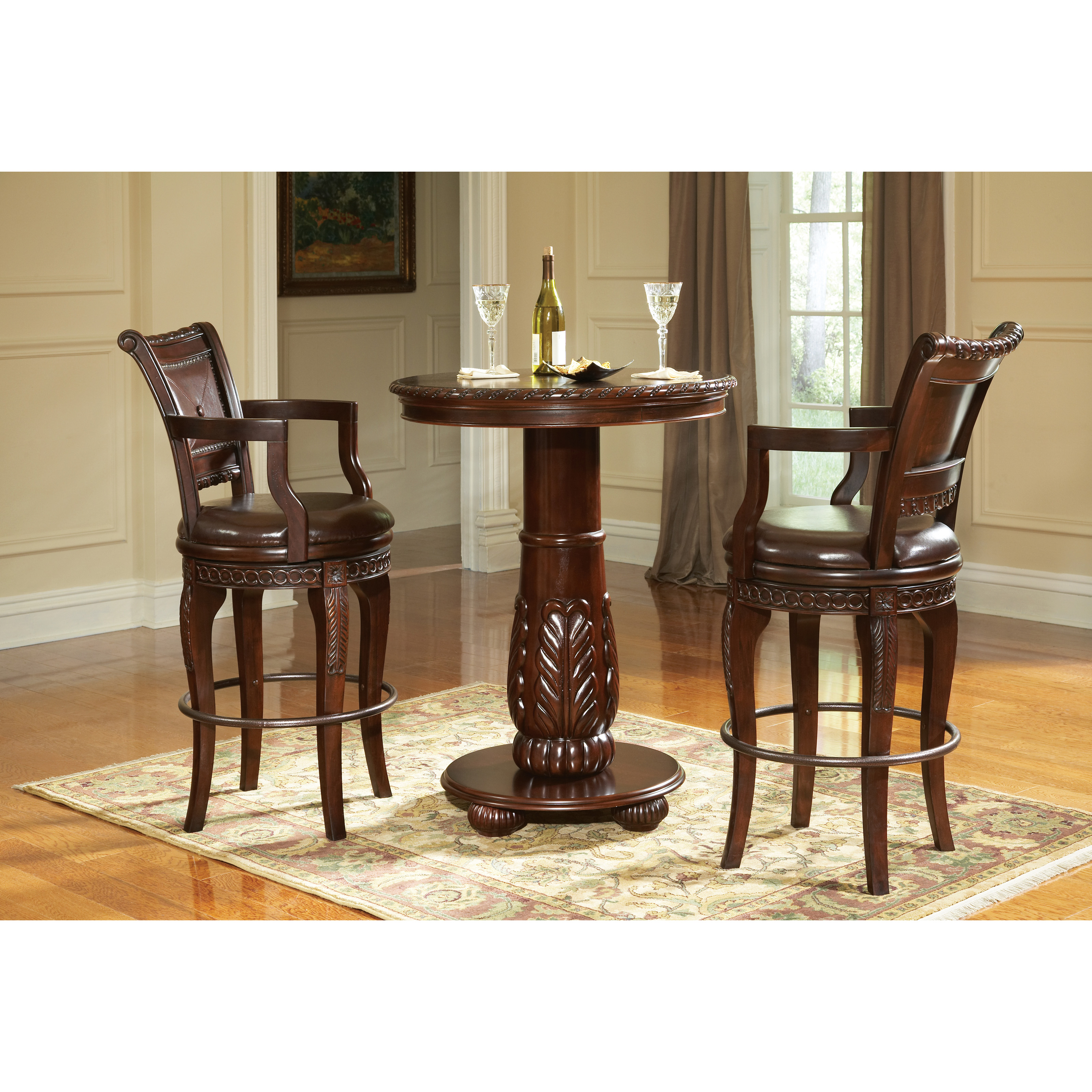 Steve Silver Antoinette 3 Piece Pub Table Set Cherry