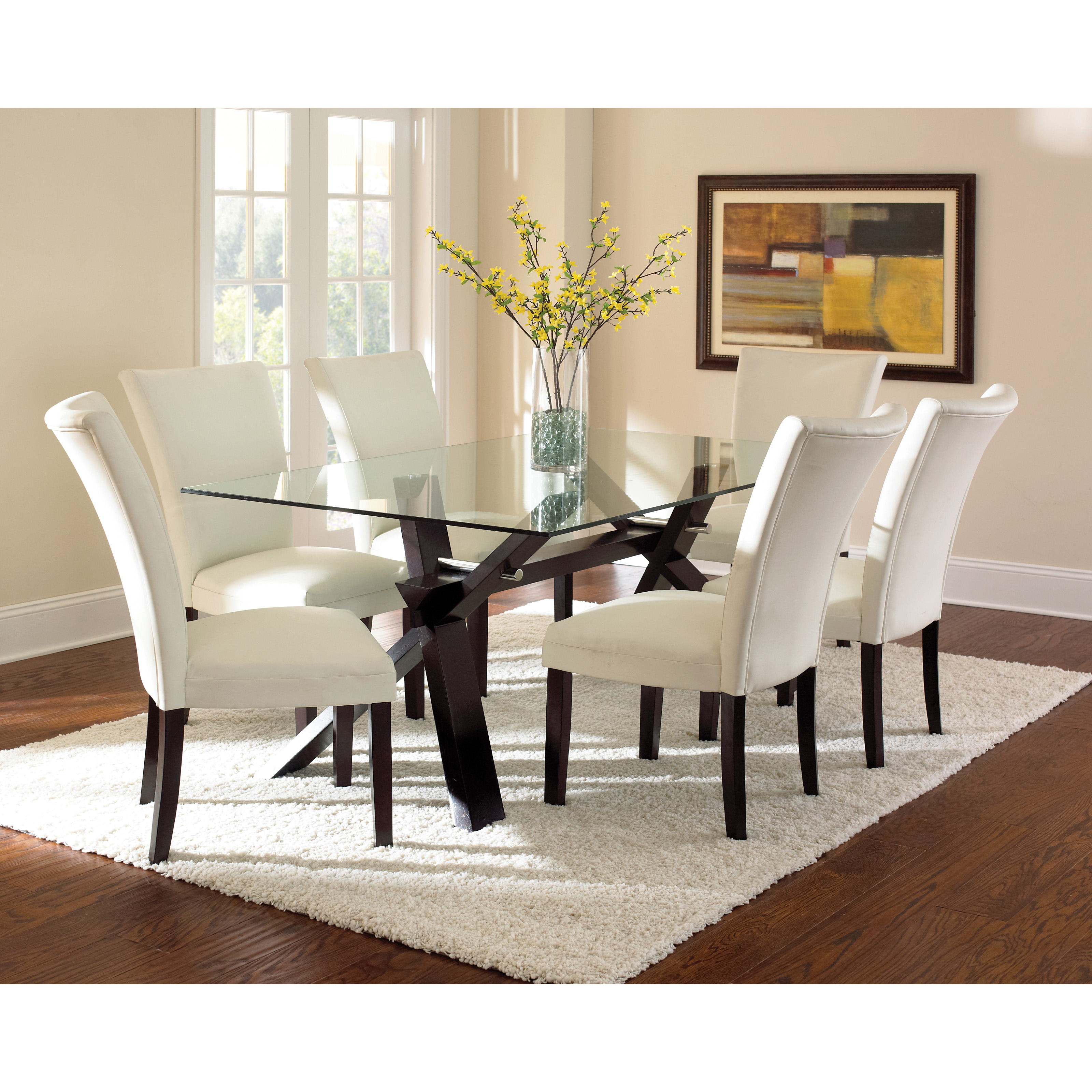Glass Dining Room: Steve Silver Glass Top Berkley Dining Table