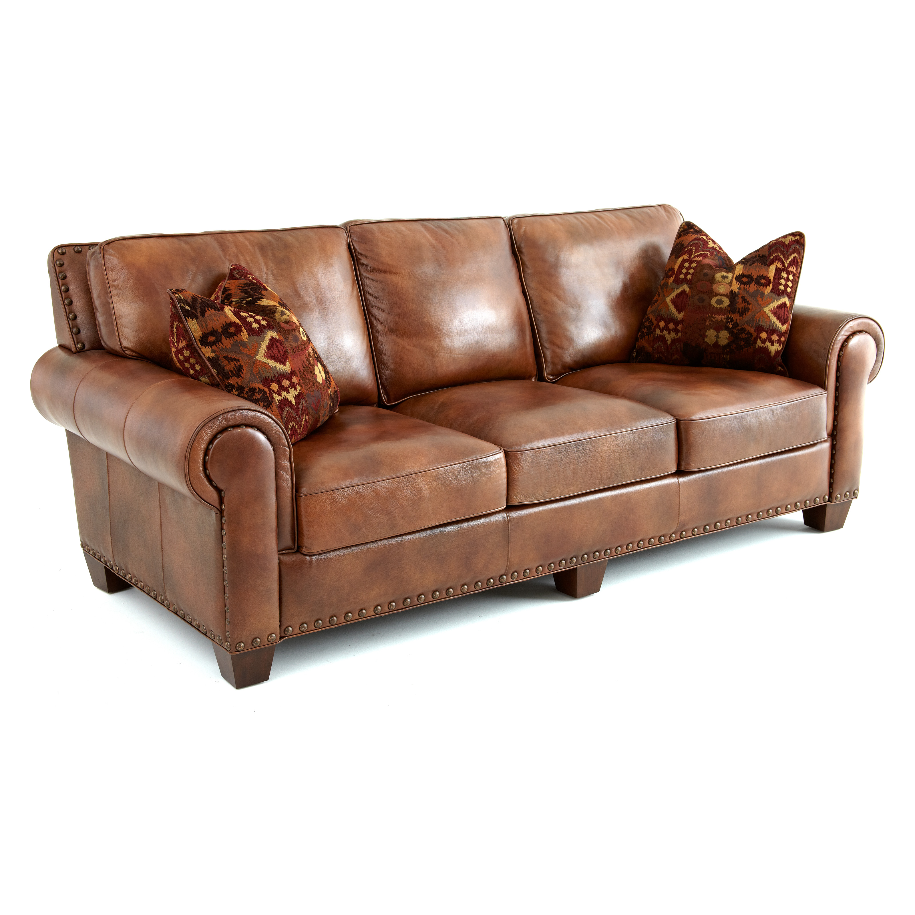 Decorative Pillows For Brown Leather Couch : Steve Silver Silverado Leather Sofa with 2 Accent Pillows - Caramel Brown - Sofas & Loveseats at ...