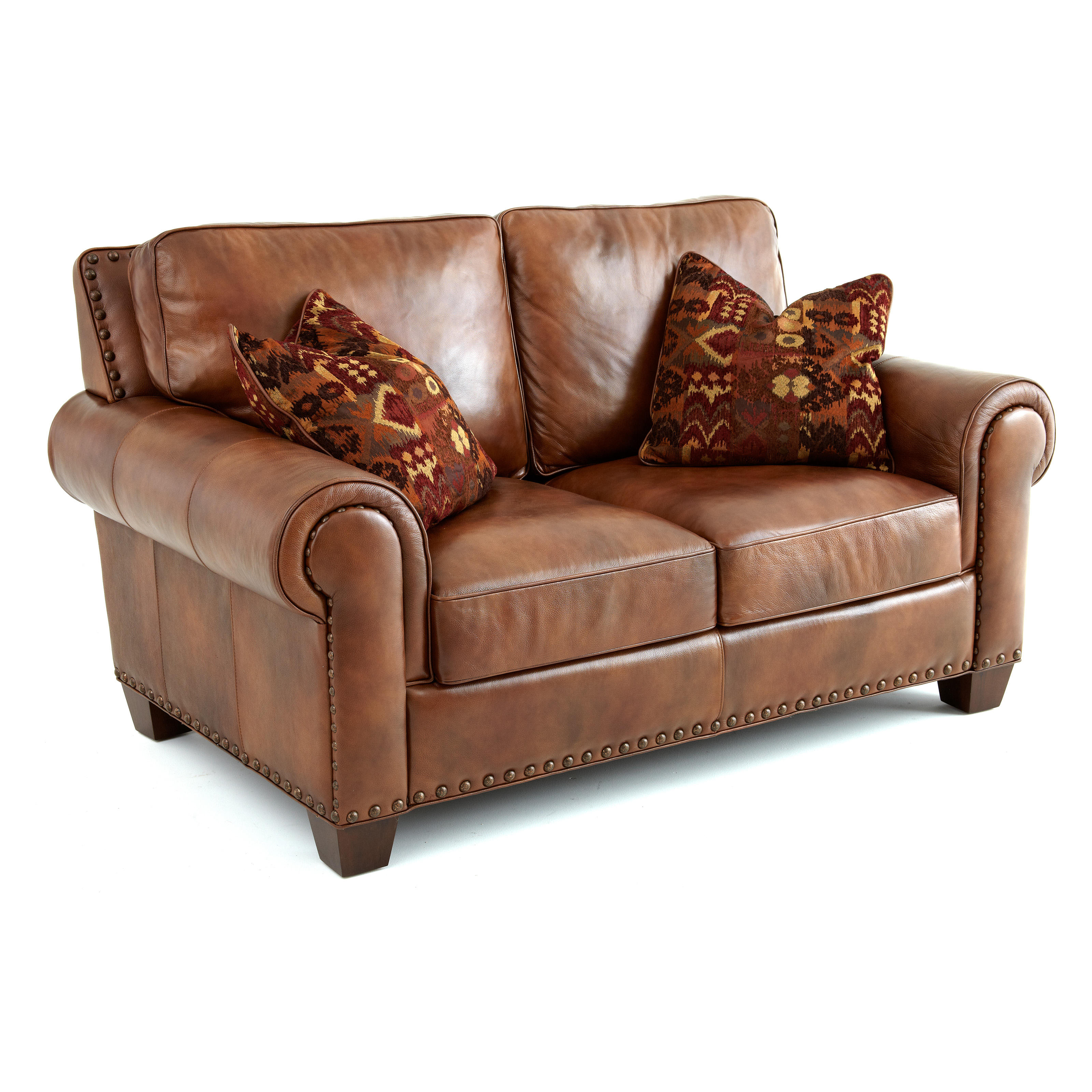 Decorative Pillows For Brown Leather Couch : Steve Silver Silverado Leather Loveseat with 2 Accent Pillows - Caramel Brown - Sofas ...