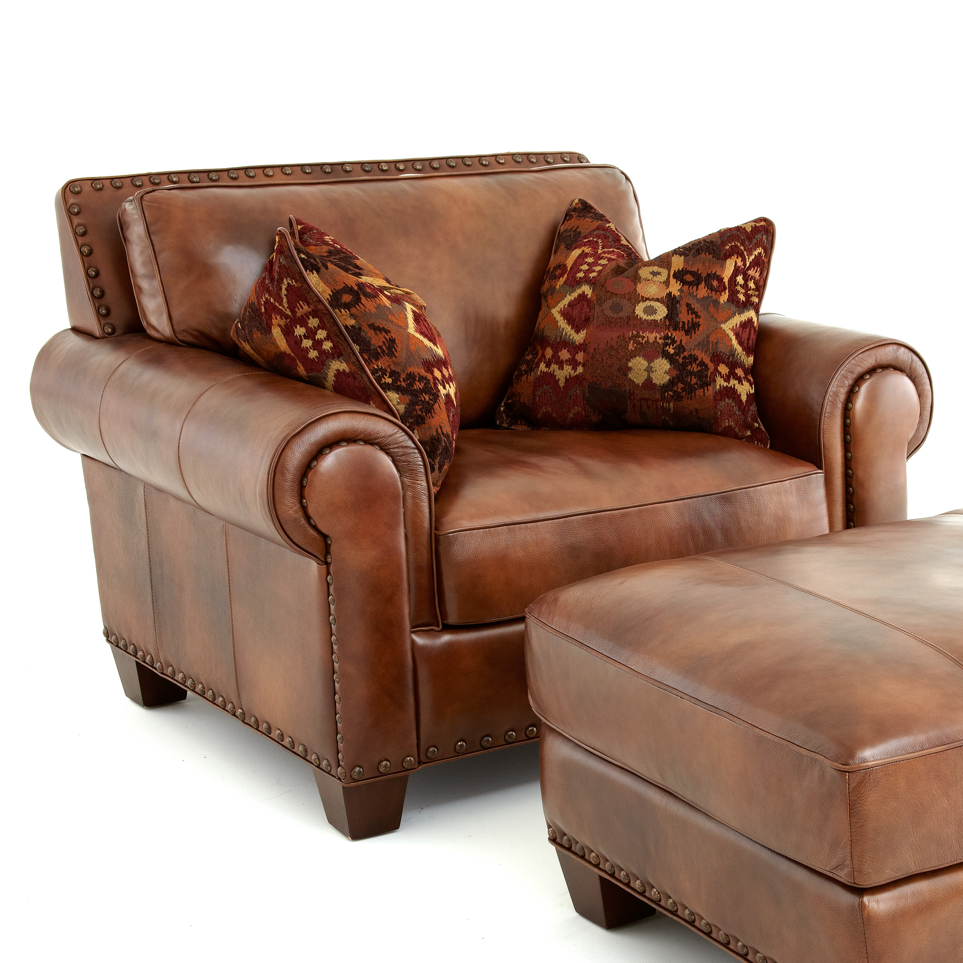 Leather Sofa For Accent Pillows: Steve Silver Silverado Leather Chair With 2 Accent Pillows