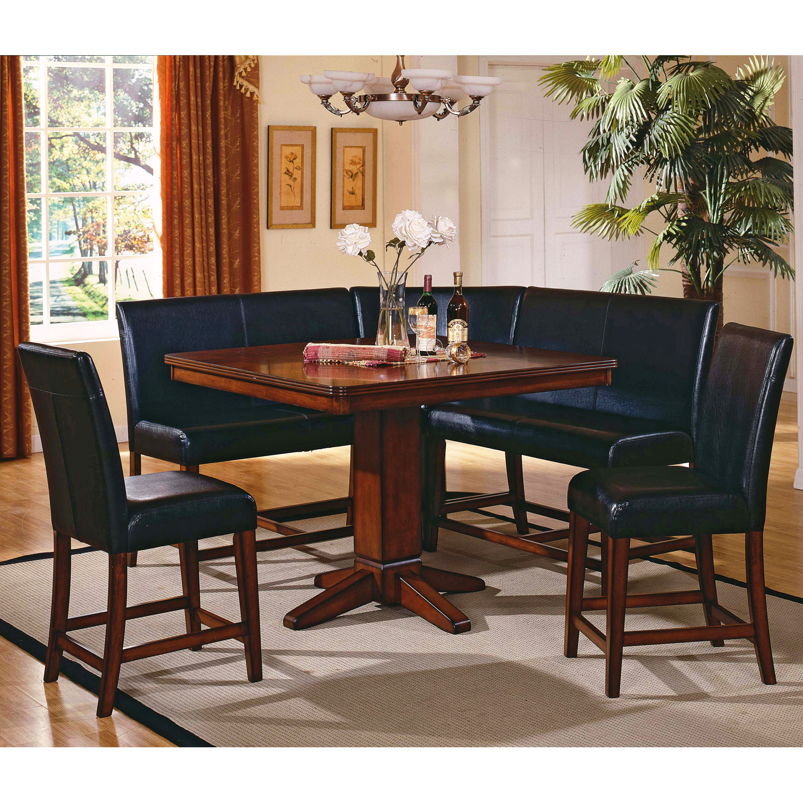 Steve silver plato 6 piece counter height nook dining - Nook kitchen table set ...
