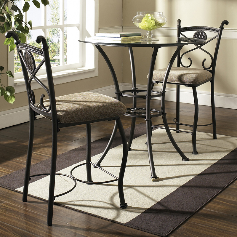 Steve Silver Brookfield Glass Top 3 Piece Counter Height Dining Table Pub Tables Amp Bistro Sets