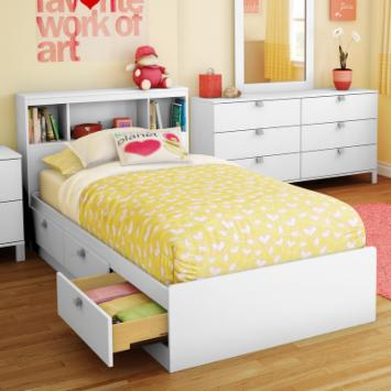 Sparkling Bookcase Storage Platform Bed