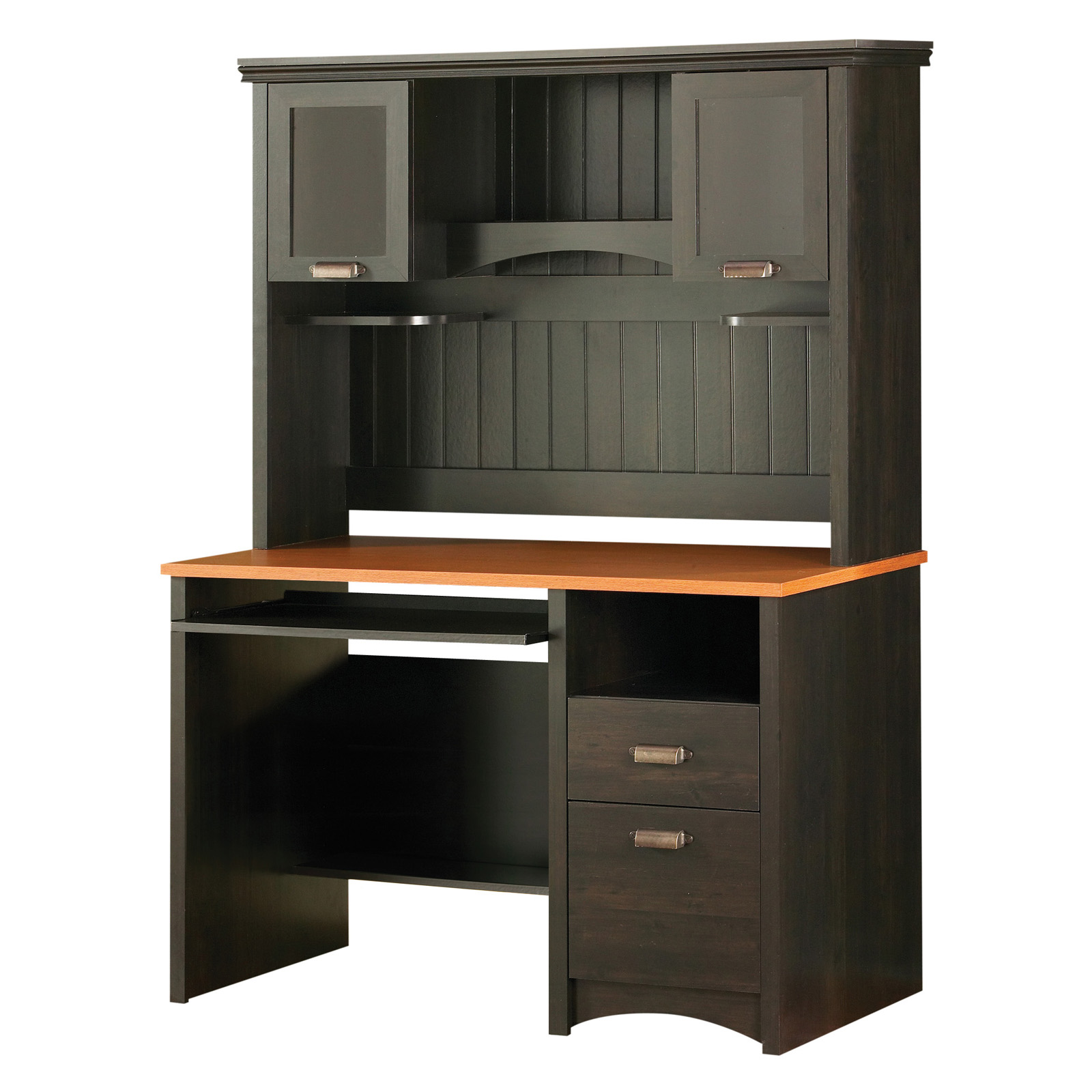 Shore Gascony Collection Work Desk with Hutch – Ebony at Hayneedle