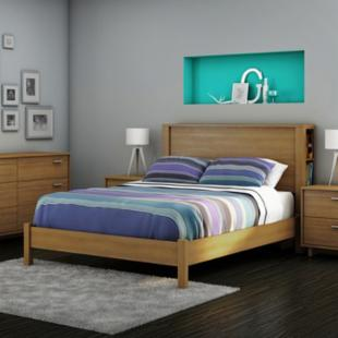 Fynn Storage Headboard Platform Bed - Harvest Maple