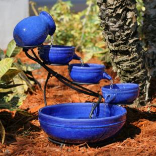 Smart Solar Blue Ceramic Cascade Bird Bath Fountain