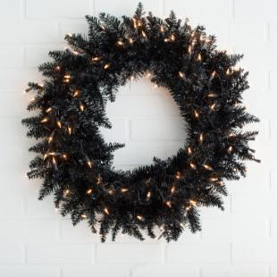 Black Ashley Pre-lit 30 in. Wreath