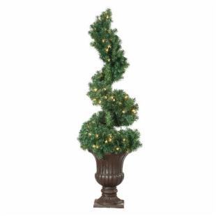 Potted Spiral Topiary Pre-lit Christmas Tree