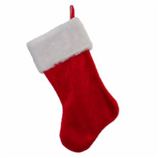 20 in. Fabric Red Plush Stocking with White Cuff