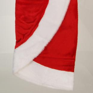 48 in. Fabric Red Plush with White Border Tree Skirt