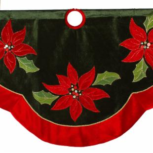 48 in. Green with Flower Velvet Skirt