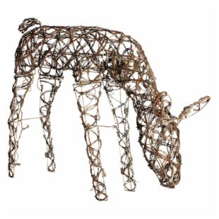 48 in. Animated Grapevine Feeding Deer