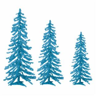 Teal Tinsel Alpine Tree - Set of 3