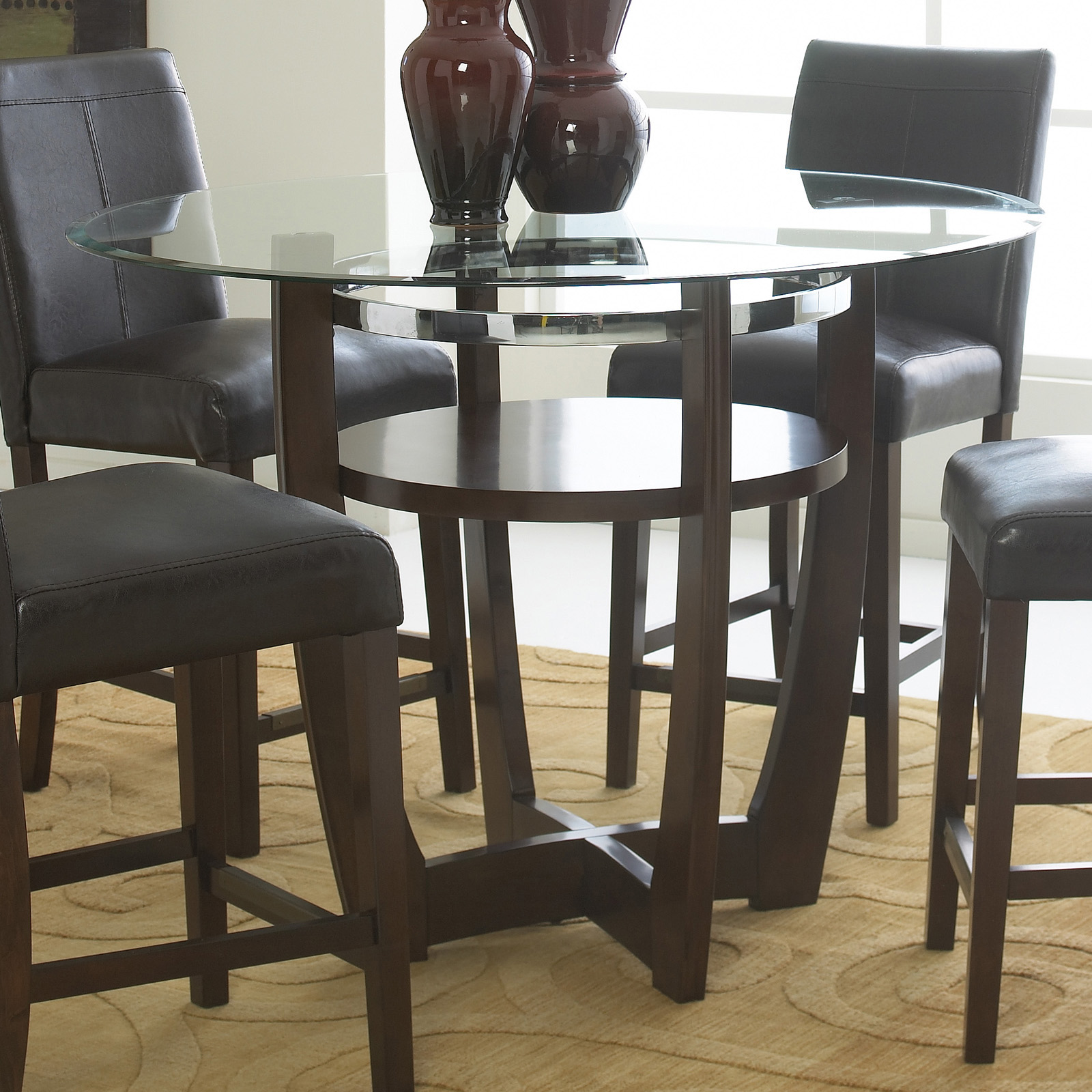 Counter Height Glass Dining Table Set : ... Furniture Apollo Counter Height Glass Top Dining Table at Hayneedle