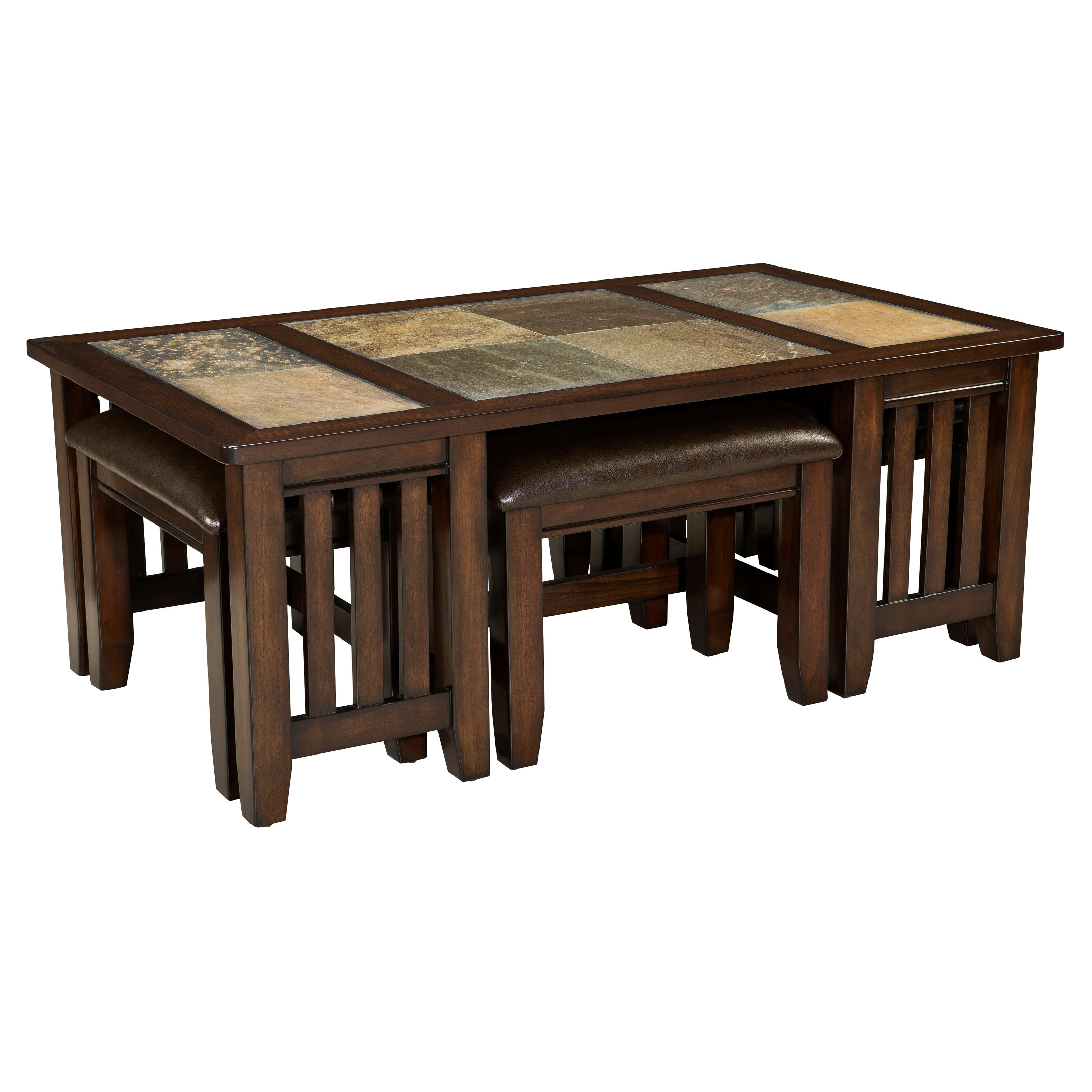 Standard Furniture Napa Valley Rectangle Wood And Stone Top Coffee Table With 4 Stools Coffee
