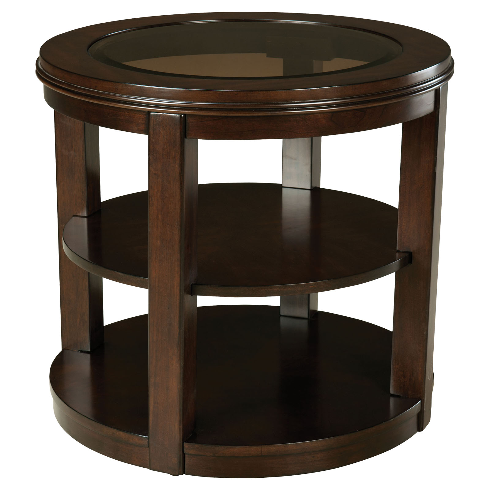 standard furniture spencer round wood and glass top end table end tables at hayneedle. Black Bedroom Furniture Sets. Home Design Ideas
