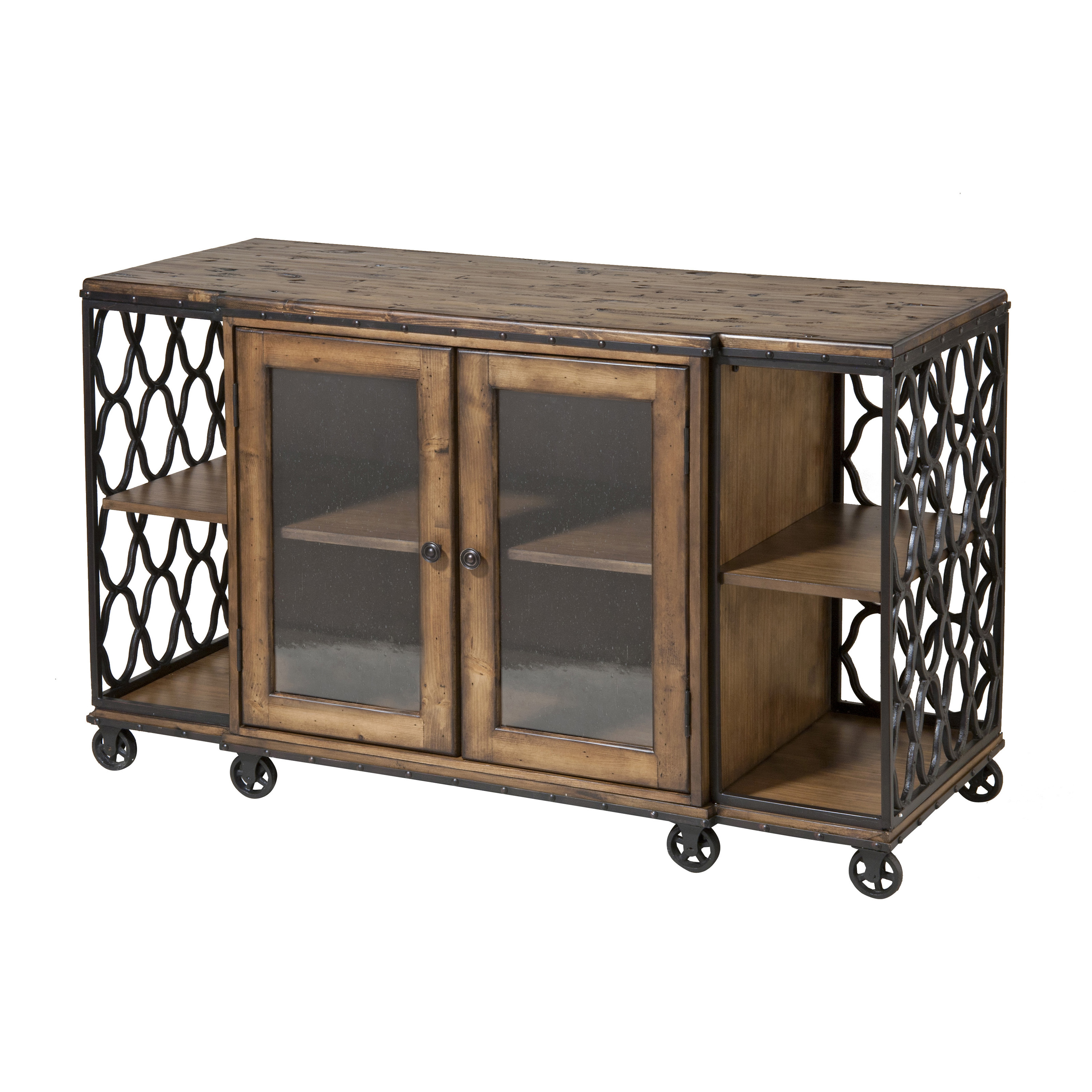 Stein world jane rae wood metal media console table for Metal and wood console tables
