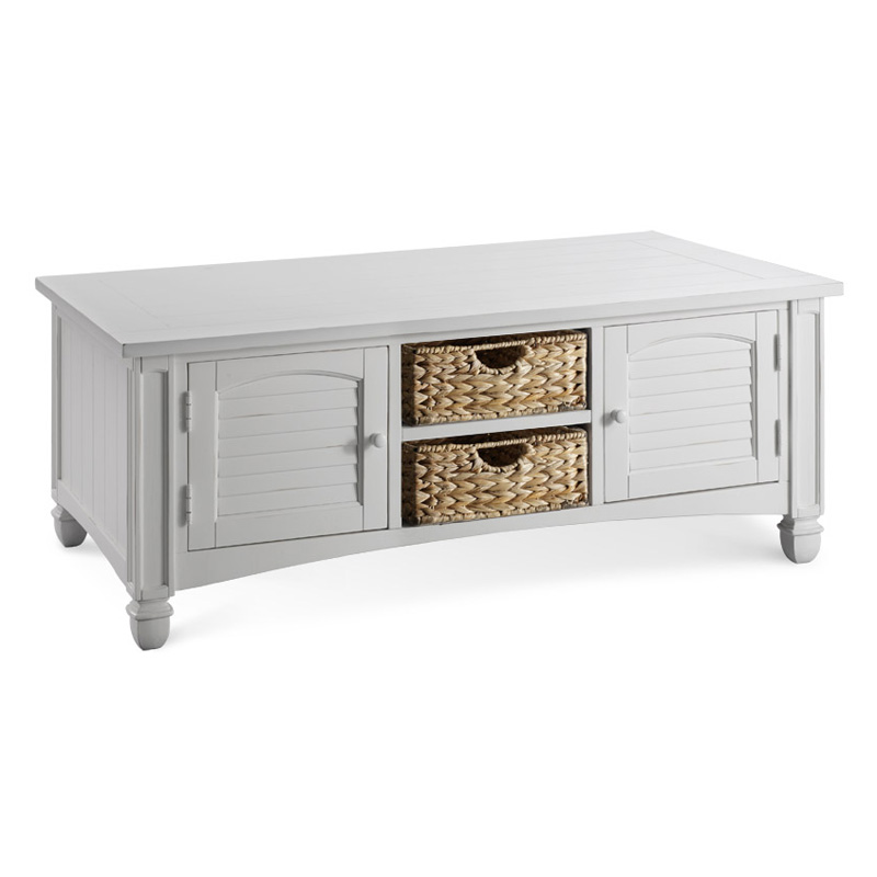 Stein world nantucket white coffee table with baskets coffee tables at hayneedle Coffee table baskets