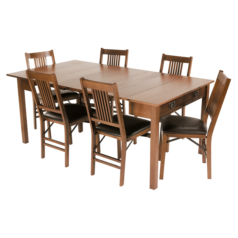 stakmore mission style expanding dining set fruitwood at