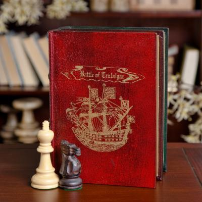  Leather Bound Book with Wood Chess Pieces