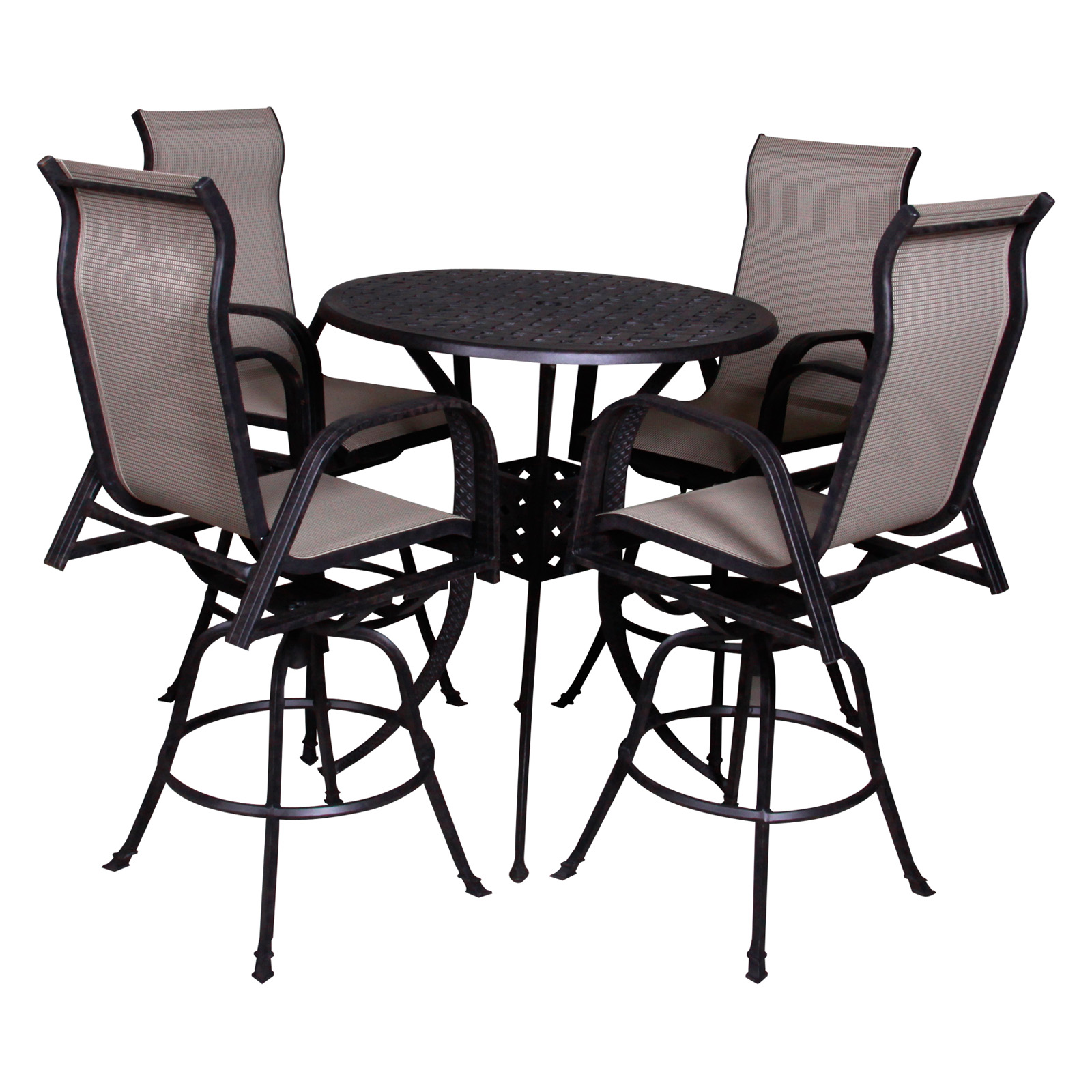 redondo bar height fire pit patio dining set seats 4